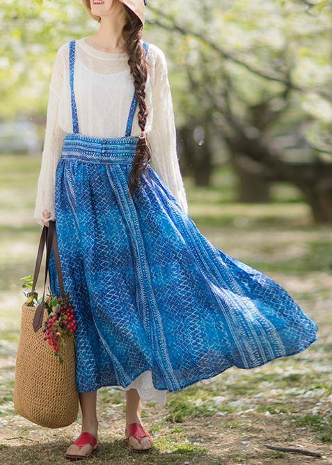 Women's Summer 2021 New Dress Blue Print Strap Skirt Swing Skirt