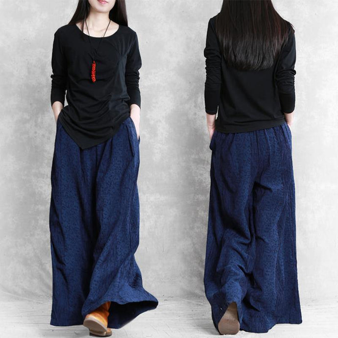 Women's cotton and linen loose casual pants dark blue jacquard wild mouth wide leg pants