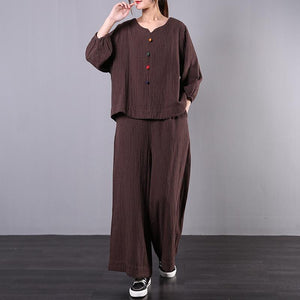 Women's early 2020 new large size chocolate striped cotton and linen was thin wide-leg pants two-piec