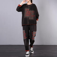 Load image into Gallery viewer, Women's loose large size was thin black embroidered casual sports suit