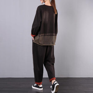 Women's loose large size was thin black embroidered casual sports suit