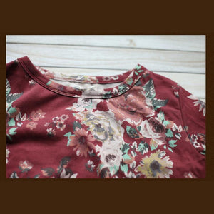 Women shirt red cotton causal top plus size