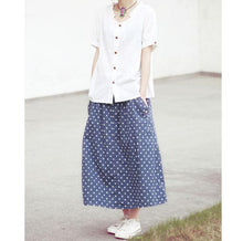 Load image into Gallery viewer, Women summer blue dotted skirts A line casual skirt