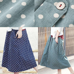 Women summer blue dotted skirts A line casual skirt