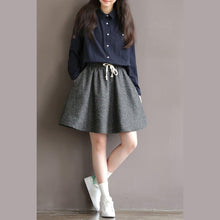 Load image into Gallery viewer, Woolen gray simple skirts casual vintage high wasit short skirts
