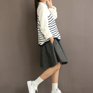 Woolen gray simple skirts casual vintage high wasit short skirts