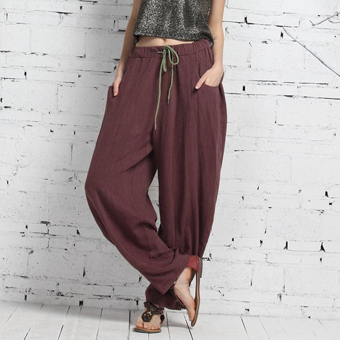Wowen New Cotton Linen Thin Casual High Waist Pants