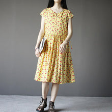 Load image into Gallery viewer, Yellow cherry print cotton sundress plus size summer dresses short sleeve