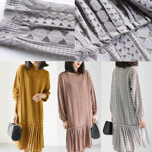 Yellow fine lace dresses long sleeve casual mermaid dress oversize lace clothing