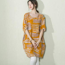 Laden Sie das Bild in den Galerie-Viewer, Yellow floral baggy sundress linen summer shift dresses maternity dress