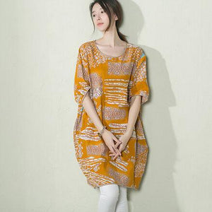 Yellow floral baggy sundress linen summer shift dresses maternity dress