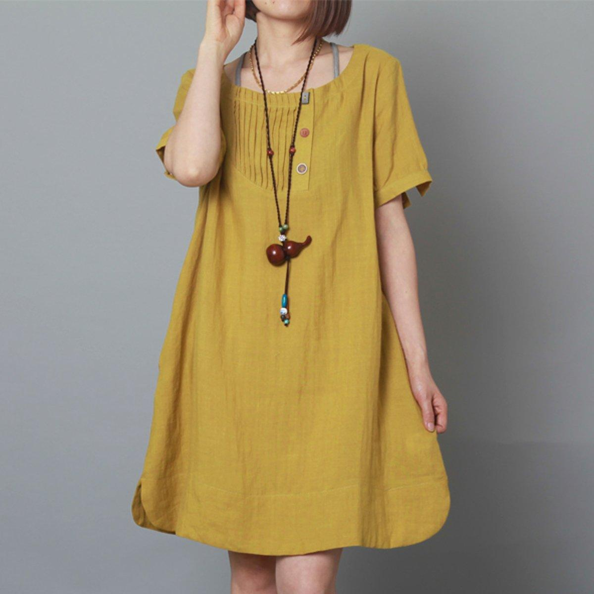 Yellow linen dress summer shift dress plus size sundress-Will be available soon