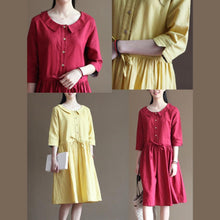 Load image into Gallery viewer, Yellow linen summer dress short sundress plus size linen clothing
