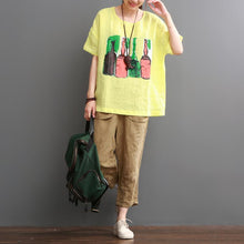 Load image into Gallery viewer, Yellow print summer linen shirt women top love beers