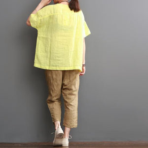 Yellow print summer linen shirt women top love beers