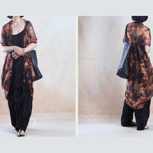 Load image into Gallery viewer, Zig Zag Chiffon Cape Cardigan dress Summer holiday sundress orange-will be available soon