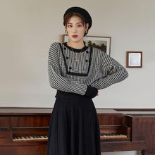 Load image into Gallery viewer, Knitting Houndstooth Sweater Women Winter The New Long Sleeve O-neck Collar Pullover