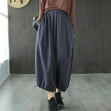 Load image into Gallery viewer, Loose Leisure Pockets Elastic Waist Ankle-length Wide Leg Pants