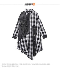 Load image into Gallery viewer, Women Autumn Patchwork Plaid Denim Blouse Tops Shirt Female Vintage Spliced Plaid Shirt Ladies Retro Blouses 2020