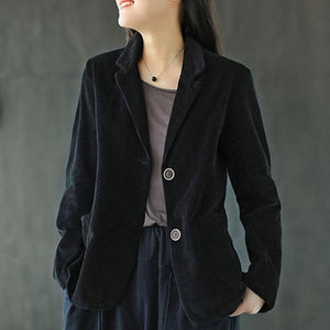 Autumn New Cotton Corduroy All-match Coats 2020 Loose Comfortable Long Sleeve Women Tops Coat