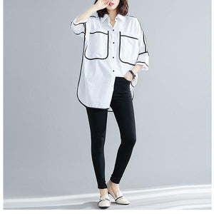 white cotton summer vintage korean style plus size Casual loose long shirt women blouse 2020 clothes ladies tops streetwear