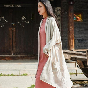 New Style National Style Coat Cotton Linen Women Trench Solid Plus Size Women Vintage Trench