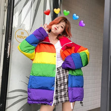 Load image into Gallery viewer, Women Rainbow Wadded Parka Plus Size Loose Striped Coat