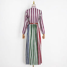 Load image into Gallery viewer, Patchwork Striped Drawstring Waist Dress  Style Temperament All Match Dress