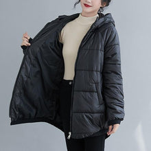Load image into Gallery viewer, plus size thicken Cotton hooded woman casual loose autumn winter jacket Coat clothes women 2020 outerwear