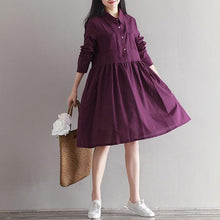 Load image into Gallery viewer, Women Cotton Linen Casual Dress New 2020 Simple Style Knee-length A-line Dress