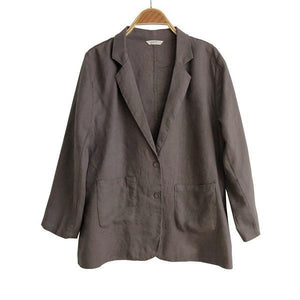 Solid Color Linen Coats Pockets 2020 Spring New 6 Color Button Women Clothing Casual Jackets