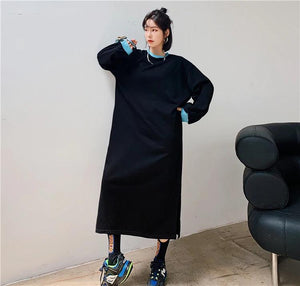 long sleeve plus size cotton patchwork for women causal loose autumn winter dress