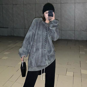 Casual Sweater Women Winter Fashion New Style O Neck Collar Long Sleeve Pullover Personality Loose Knitting Top