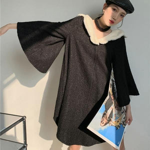 Patchwork Solid Dress Women 2020 Winter Casual Fashion New Style Temperament All Match Flare Sleeve Women Clothes