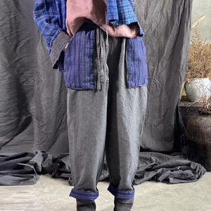 Omychic Autumn Winter Cotton Linen Retro Patchwork Pocket Elastic Waist Harem Pants