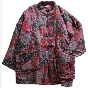 Winter Retro Print Loose Thickened Warm Cotton Parkas