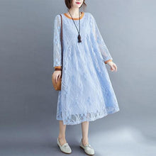 Load image into Gallery viewer, Oversized Women Casual Lace Dresses Style Solid Color Loose Comfortable Ladies Elegant Long Dress