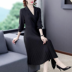 long sleeve plus size black for women casual loose spring autumn Wrap Pleated blazer dress