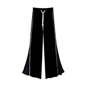 Patchwork Wide Leg Pants Fashion New Women Pleated Elastic Waist Patchwork High Waist Full Length Pants 2020 Winter