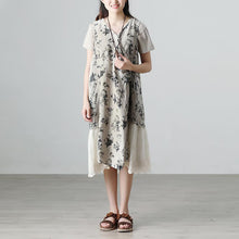 Load image into Gallery viewer, Casual Summer Short Sleeve Floral Beige Long Dresses