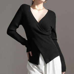 Irregular Knitted Solid Sweater Women 2020 Winter Casual Fashion New Style Temperament All Match Women Clothes