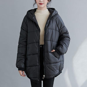 plus size thicken Cotton hooded woman casual loose autumn winter jacket Coat clothes women 2020 outerwear