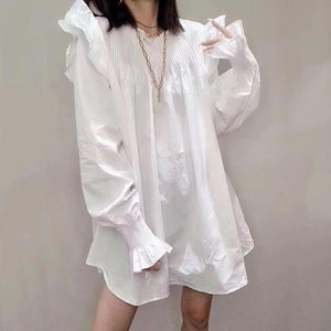 Patchwork Wrinkles Casual Blouse Women Ruffles Tide Fashion New Style O Neck Collar Long Sleeve Loose Elegant Top
