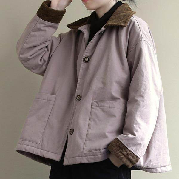 2020 New Solid Color Lapel Pockets Single Breasted Thick Coat