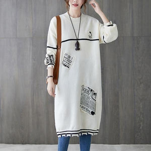 long sleeve plus size knitted vintage for women casual midi autumn winter sweater dress
