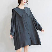Load image into Gallery viewer, long sleeve plus size vintage for women casual loose mini short spring autumn shirt dress