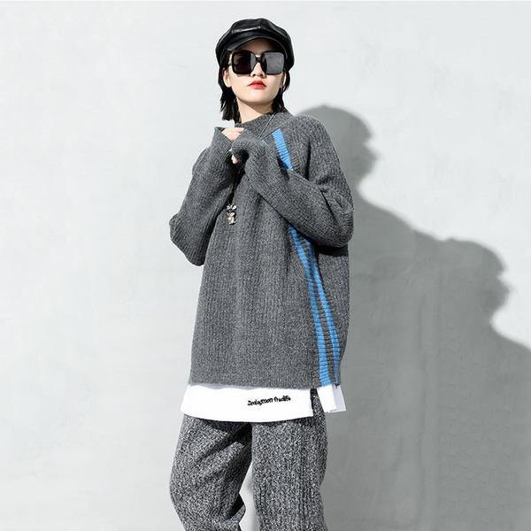 New Knitting Sweater Fashion Irregular Contrast Color Turtleneck Collar Loose Pullover Women Casual Sweater