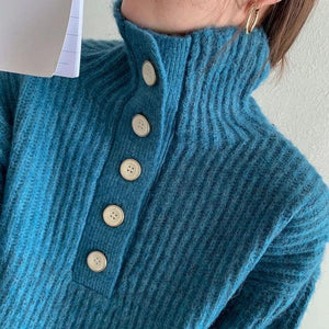 Style Turtleneck Collar Long Sleeve Pullover Elegant Solid Color Top