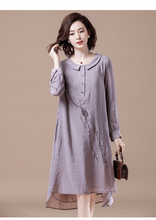 Load image into Gallery viewer, Plus Size Women Casual Dresses Vintage Embroidery Loose Ladies Knee-length Dress