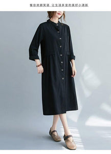 omychic plus size cotton linen vintage for women casual loose autumn shirt dress